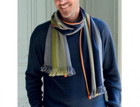 Écharpe homme laine et coton Noël d'exception