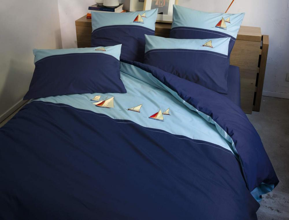 linge de lit escale indigo. Black Bedroom Furniture Sets. Home Design Ideas