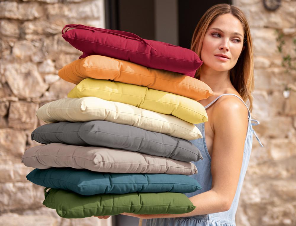 Galette de chaise couleurs de table linvosges - Galettes de chaises de jardin ...
