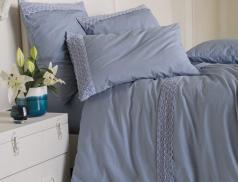 Linge de lit La nuit en bleu percale lavée
