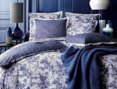 Linge de lit percale 100% coton Bleu poésie
