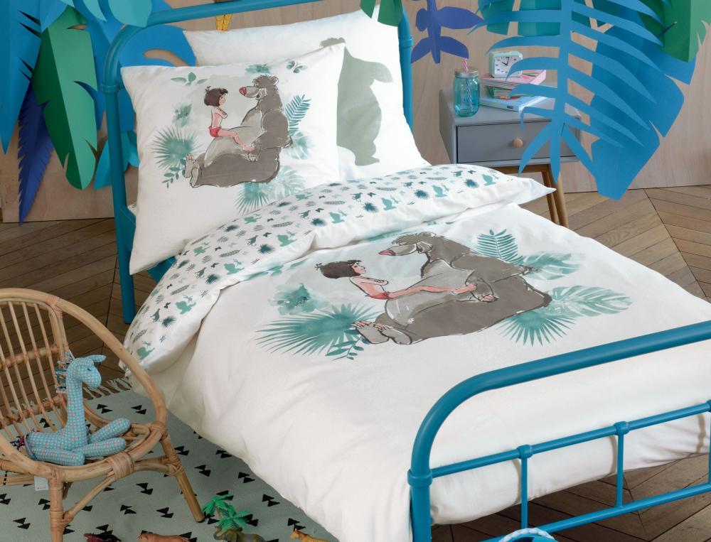 Linge de lit enfant le livre de la jungle linvosges for Housse de couette jungle