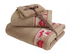 Pack linge de toilette jacquard Chalet enneigé