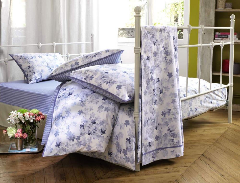 Linge de lit petite fleur bleue - Drap housse linvosges ...