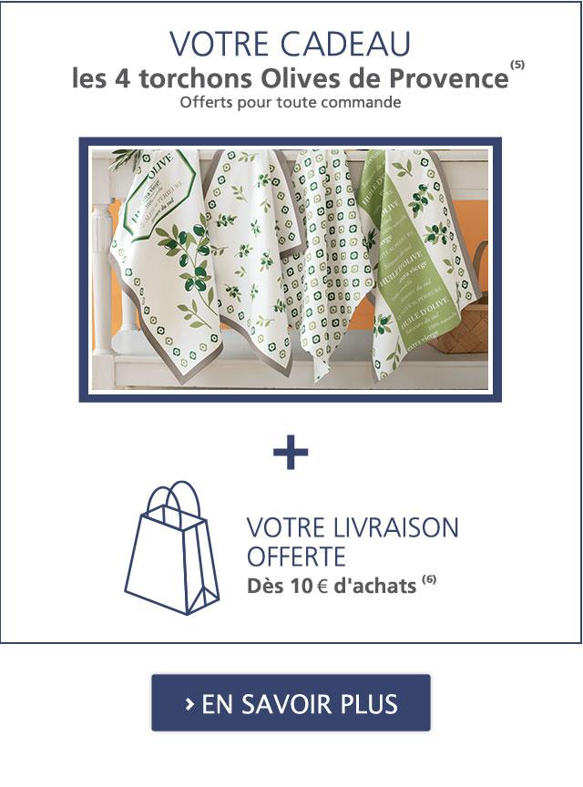 Votre Cadeau : 4 torchons Olives de Provence