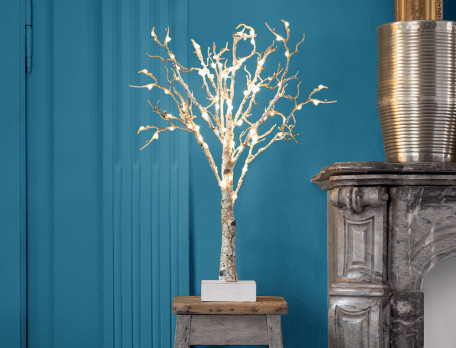 Déco noël Arbre lumineux à leds effet bois Esprit de Noël