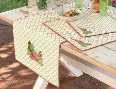 Chemin et sets de table brodés Au jardin - Linvosges