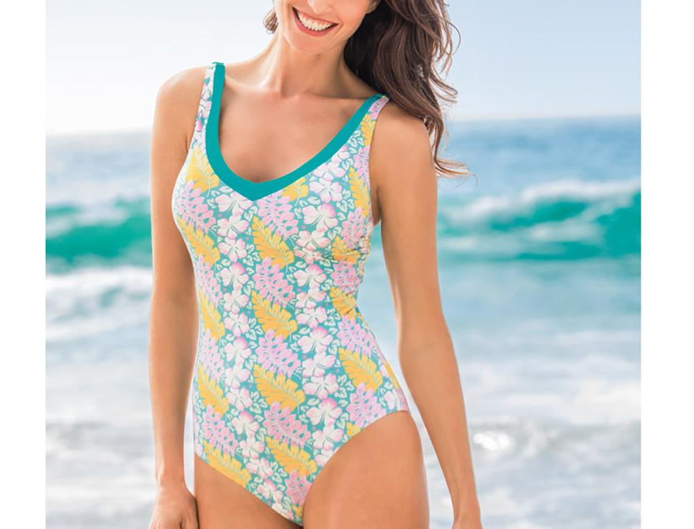 Badeanzug bedruckt Korsika Blumenaufdruck Linvosges