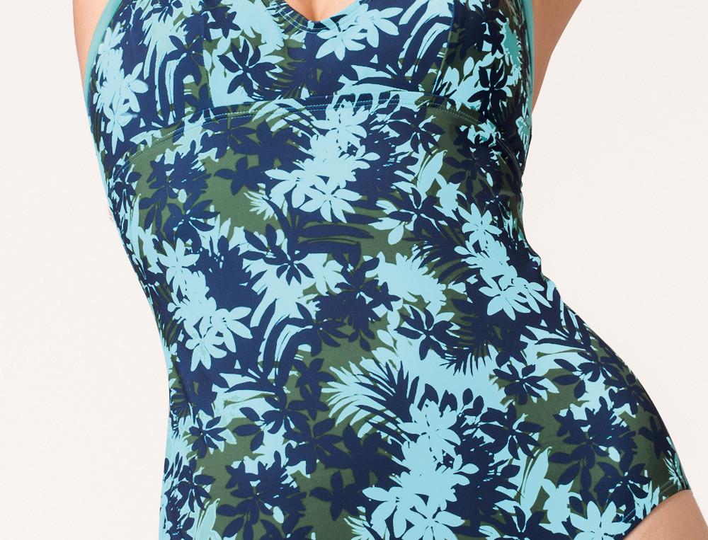 Badeanzug Blumenmotiv Blaue Lagune Linvosges