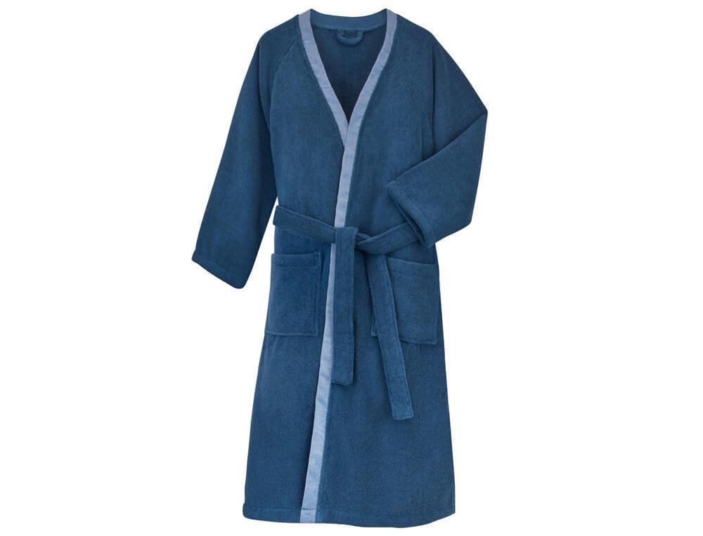 Bademantel Blaue Eleganz Baumwolle Linvosges
