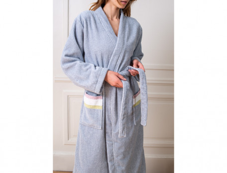 Bademantel Kimono-Stil Grau Pflanzenkunde