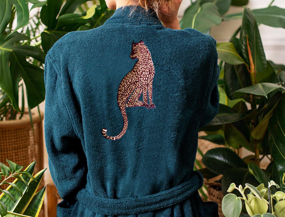 Bademantel Leoparden-Stickerei Roter Leopard