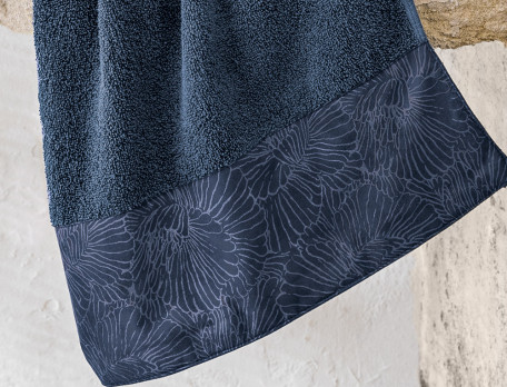 Badtextilien einfarbig Naturfarben blau türkis floral