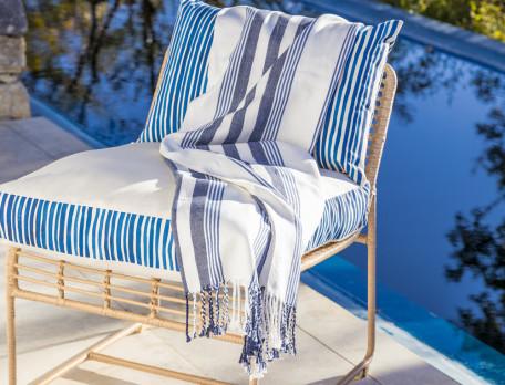 Bankpolster Amorgos blau gestreift