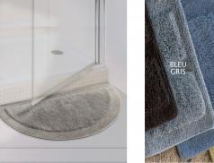 Tapis de bain bleu gris et anis Bath demi-lune