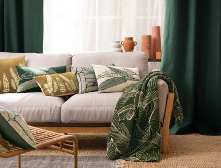 Baumwollkissen bestickt einfarbig grün Blätterzauber