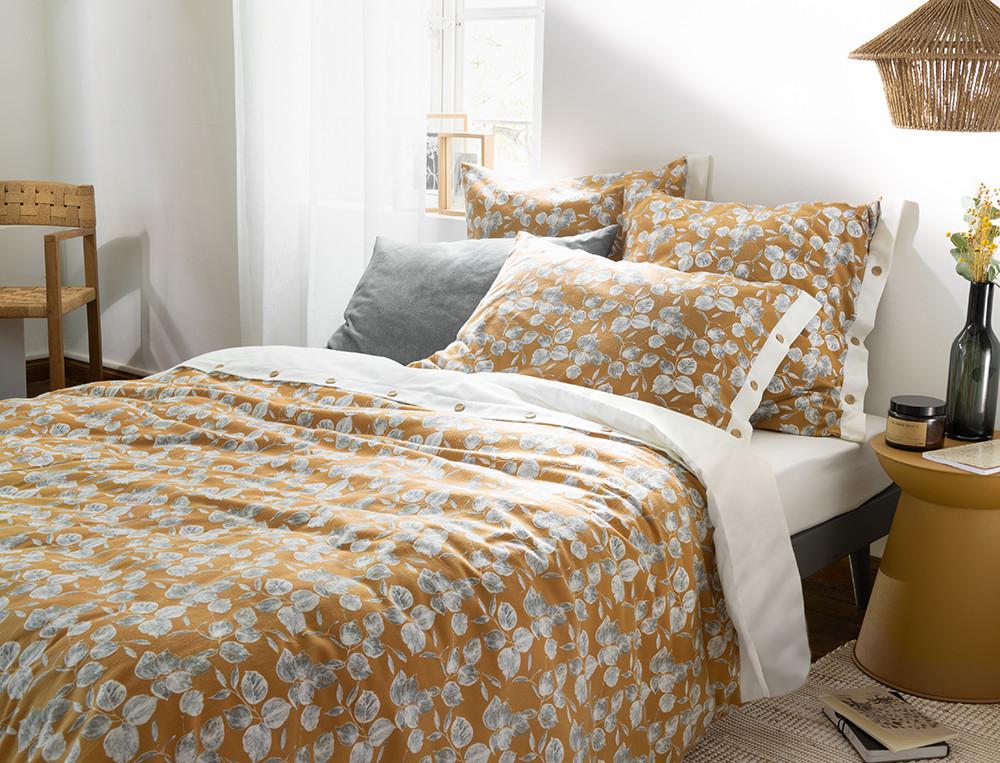 Flanell-Bettwäsche mit Pflanzenmotiv Goldener Morgen