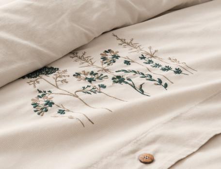 Bettwäsche Streifen und Pflanzenstickerei Kräuterwiese