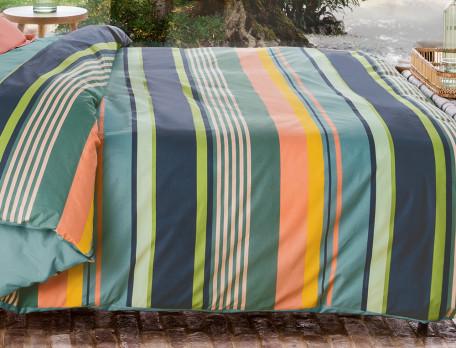 Perkal-Bettwäsche mit bunten Streifen Mimizan