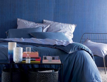 Perkal Bettwäsche Nacht in Blau