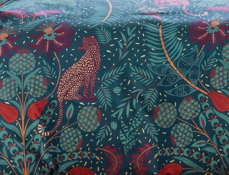 Bettwäsche Pflanzen- und Leopardenmotiv Roter Leopard