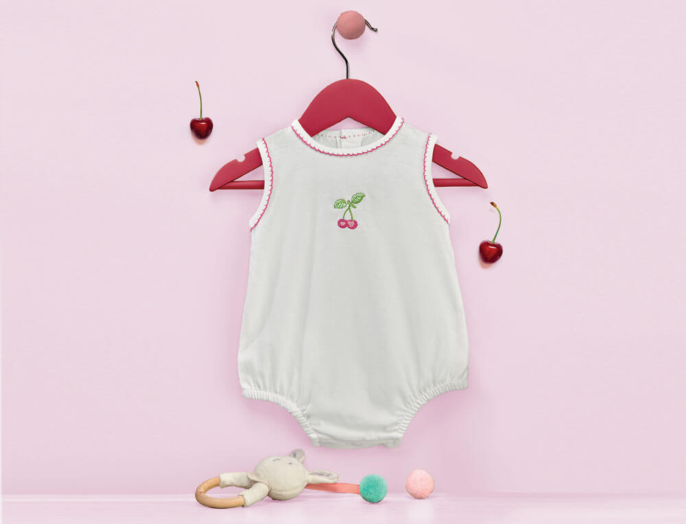 Body forme blommer jersey blanc 100% coton Petite cerise