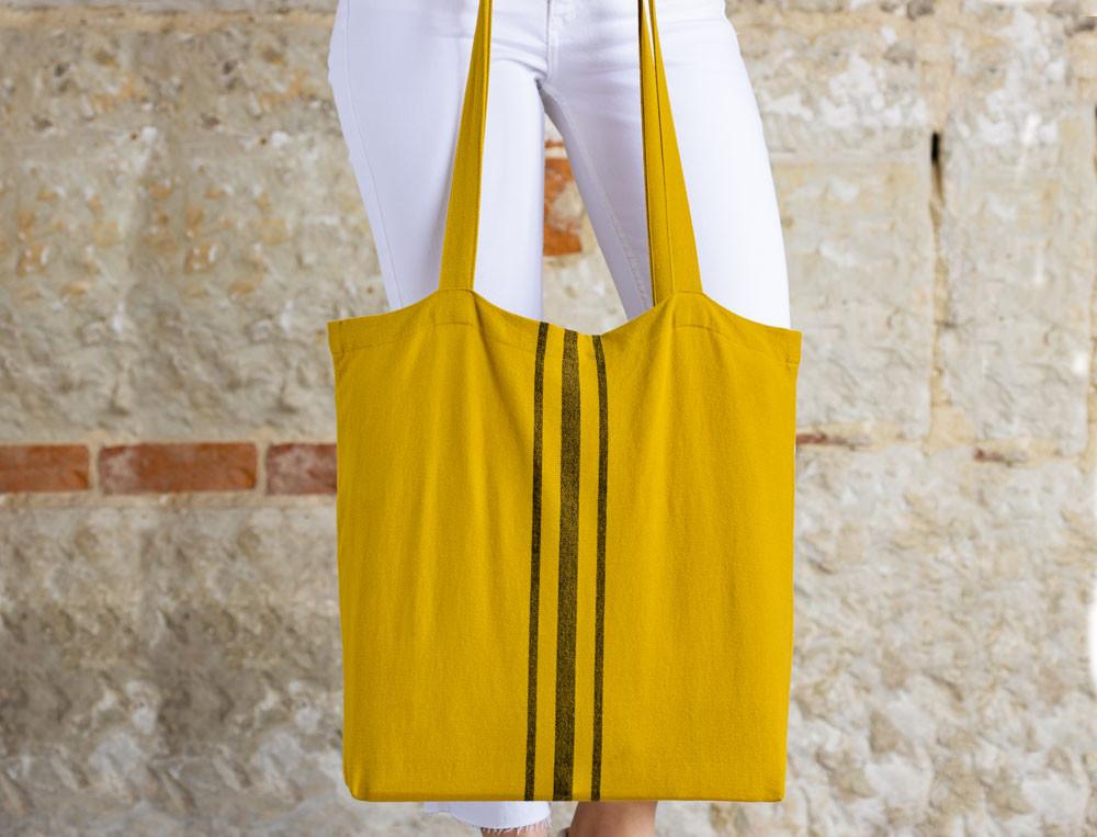 Cabas coton lavé jacquard tissé-teint Au comptoir