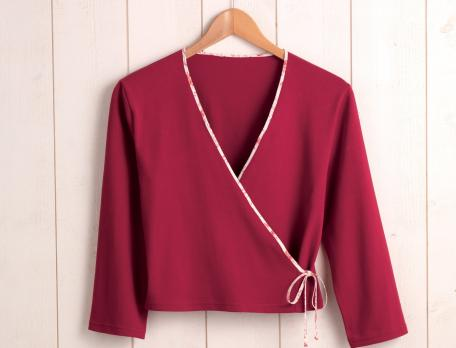 Cache-coeur jersey uni rouge Auriane