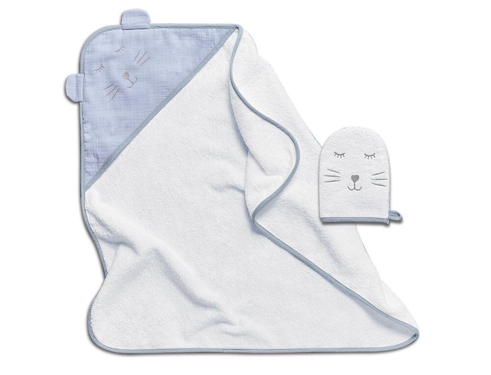 Cape de bain et gant 100% coton 400g/m2Duo câlins