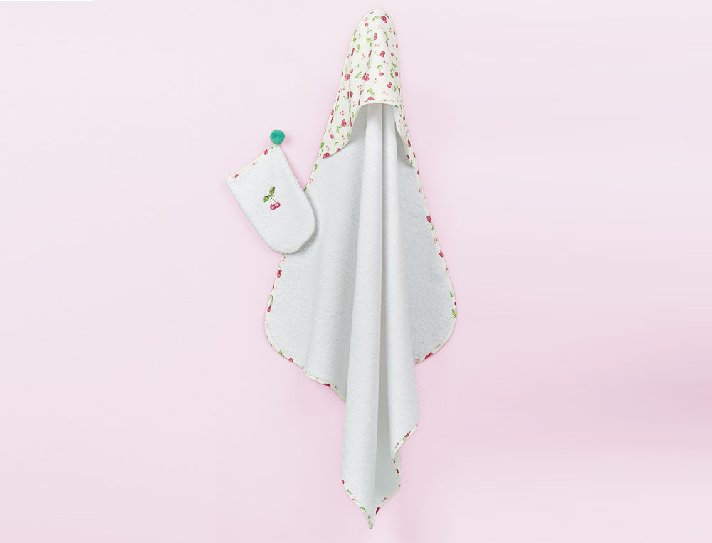 Cape de bain + gant brodé Petite cerise