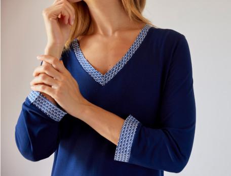 Chemise de nuit jersey Bleu de minuit