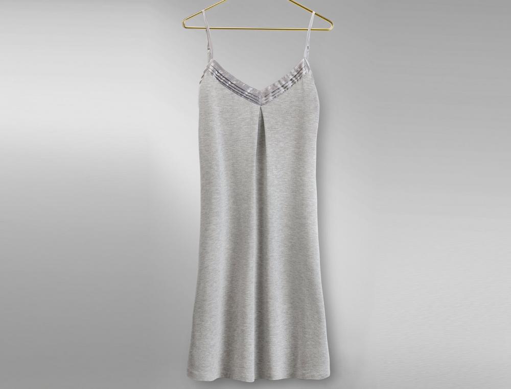 Chemise de nuit en jersey gris Budapest