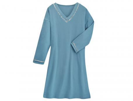 Chemise de nuit unie bleu Fleur d'Amélia