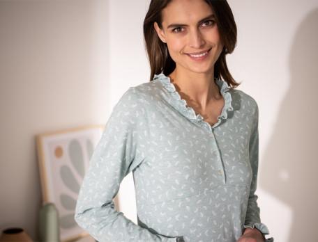 Chemise de nuit jersey chiné vert imprimé Forêt des Vosges