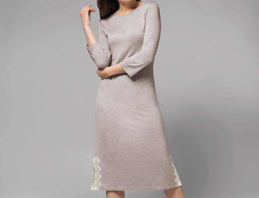 Chemise de nuit jersey gris chiné finition dentelle Palais des sables