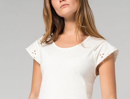 Chemise de nuit 100% coton jersey ivoire Rose trémière