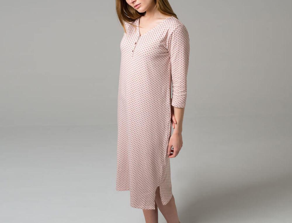 Chemise de nuit Jersey rose imprimé pois 3 petits points