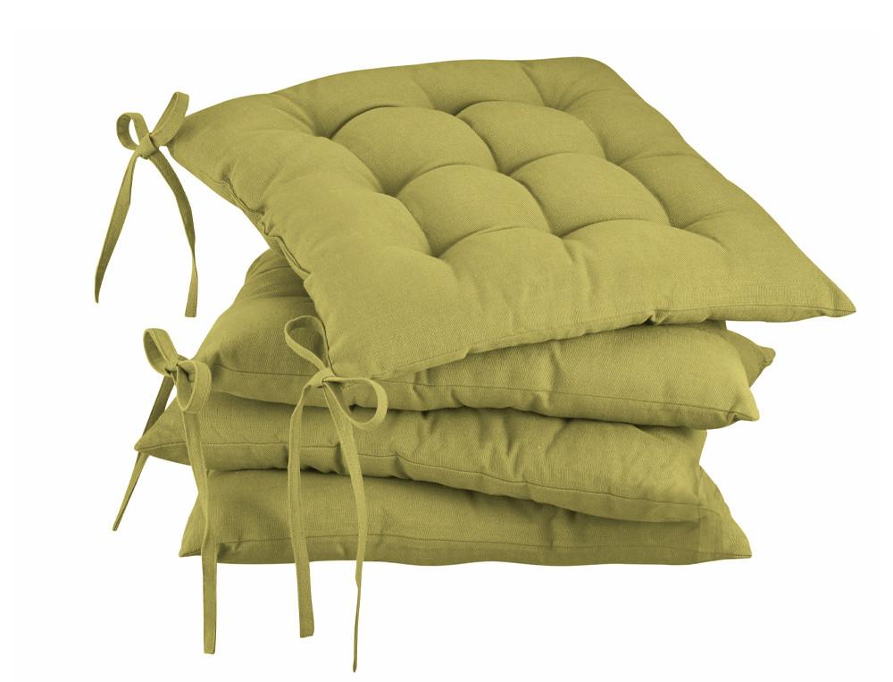 2 galettes de chaises ivoire et orange Couleur de table
