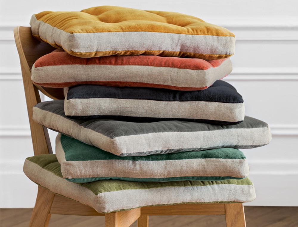 Galette de chaise lin et velours 6 coloris En couleurs