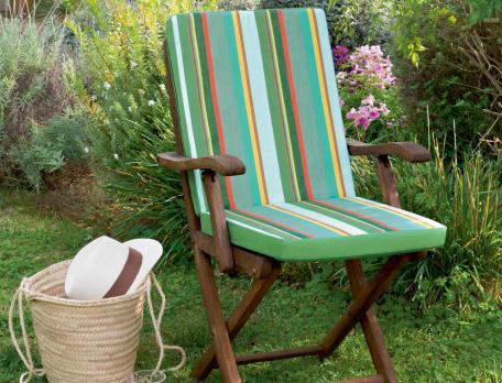 Coussin rayé de fauteuil ou de chaise Sur la durance