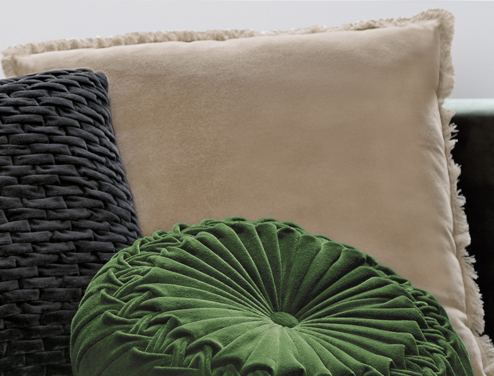 Coussin velours à franges déhoussable enveloppe coton En scène