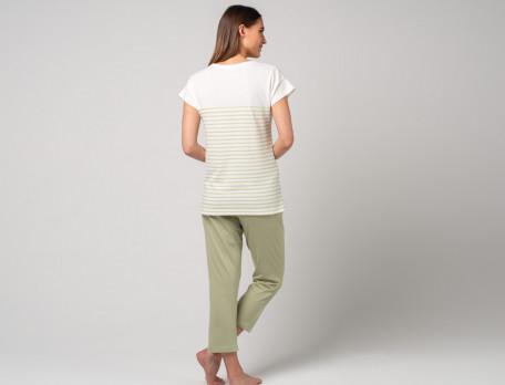 Damenpyjama zweiteilig gestreift mandelgrün Hawaii