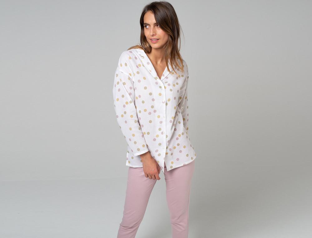 Damenpyjama - lang Ruhepause Baumwolle Linvosges