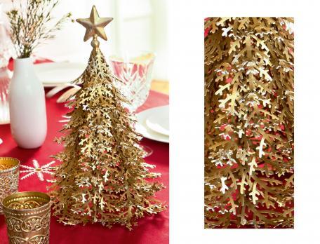 Déco de table sapin en métal Étoiles de neige