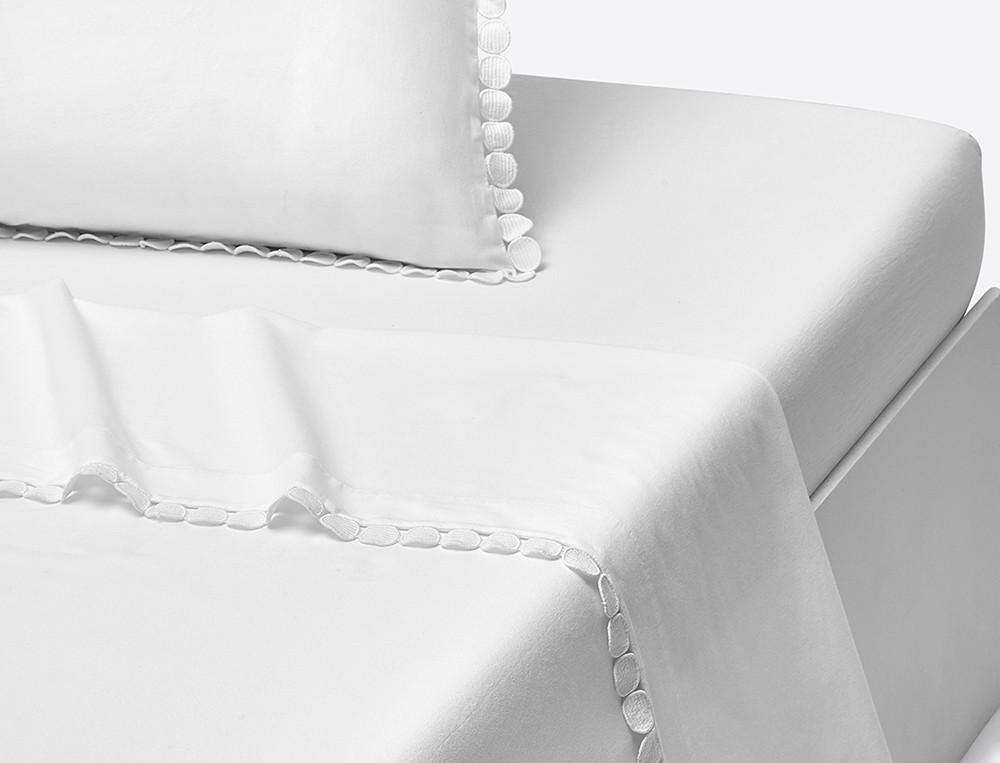 Drap percale lavée blanc Bulles de douceurs