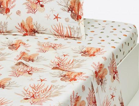 Drap percale imprimé motifss coraux Coquillages