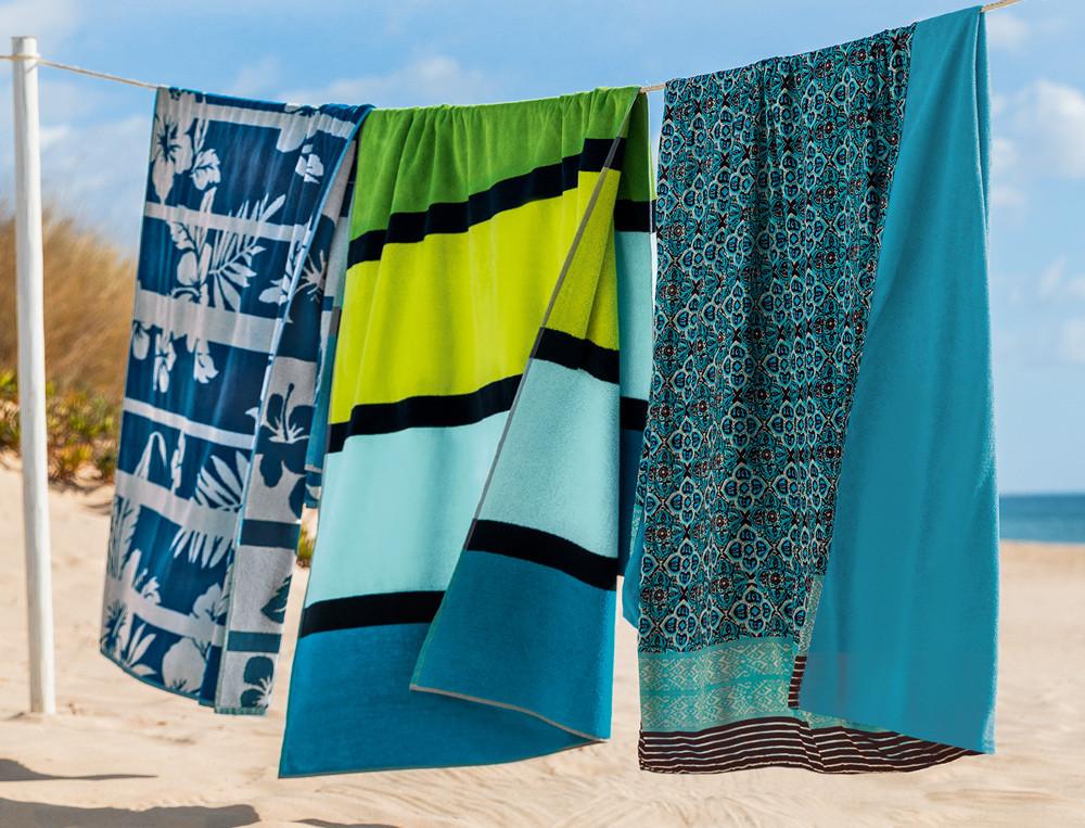 Draps de plage fleurs, rayures et petits motifs Blue lagoon