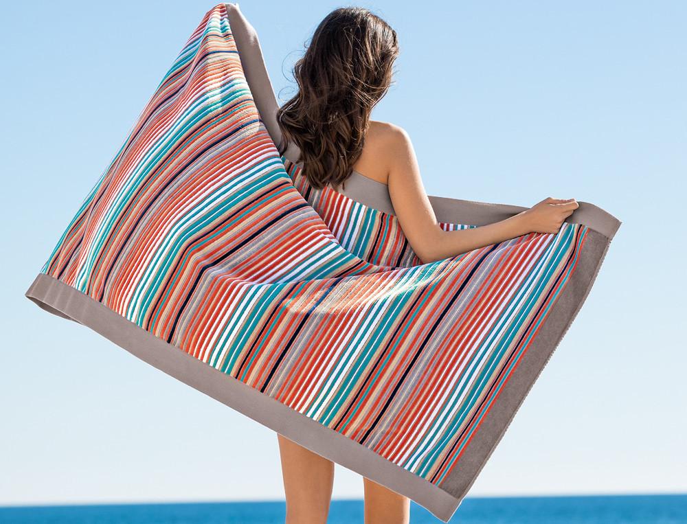 Drap de plage fines rayures jacquard Grande anse