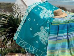 Drap de plage jacquard motif tortue Les galets de Collioure