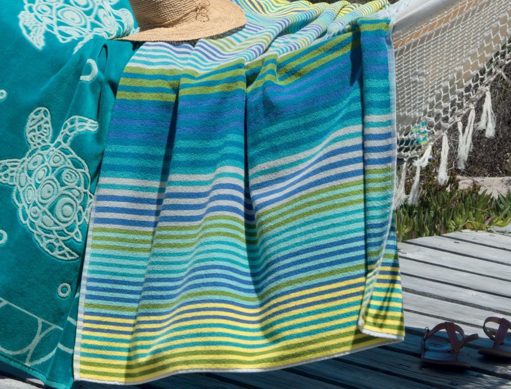 Drap de plage rayé tissé-teint Les galets de Collioure